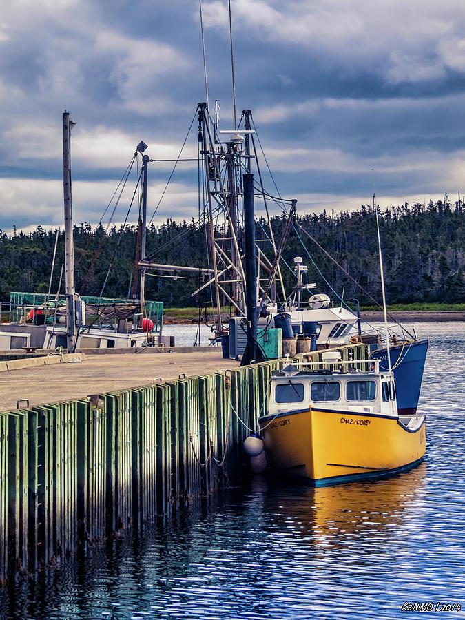 Atlantic Ocean Digital Art - Fishing Boats At Wharf In Marie Joseph by Ken Morris