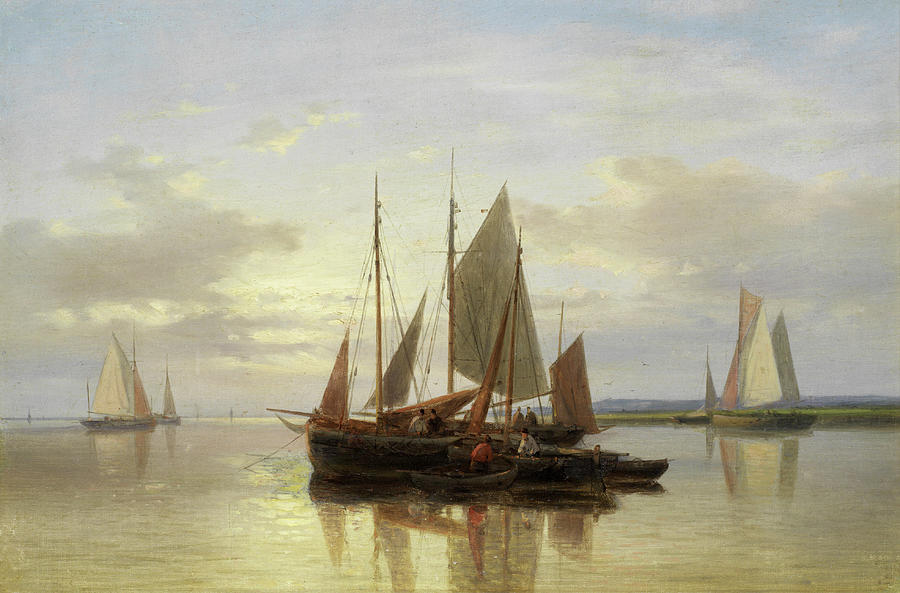 Seascape Painting - Fishing Boats In Calm Water by Abraham Hulk Senior