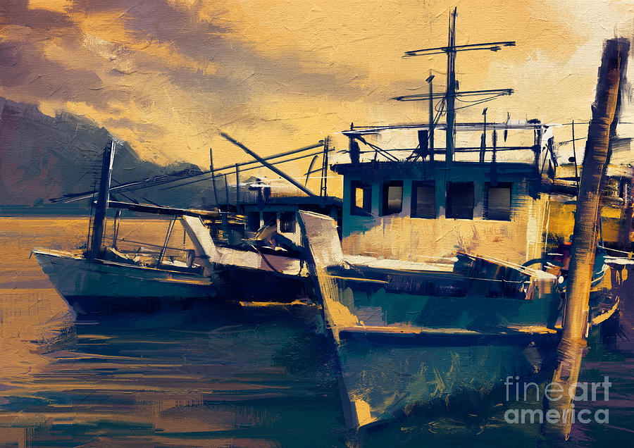 Color Digital Art - Fishing Boats In Harbor At Evening,old by Tithi Luadthong