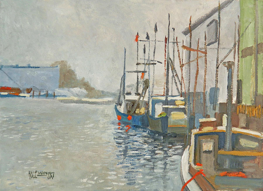 Fishing Boats Painting - Fishing Boats In The Harbor by Robert Holewinski