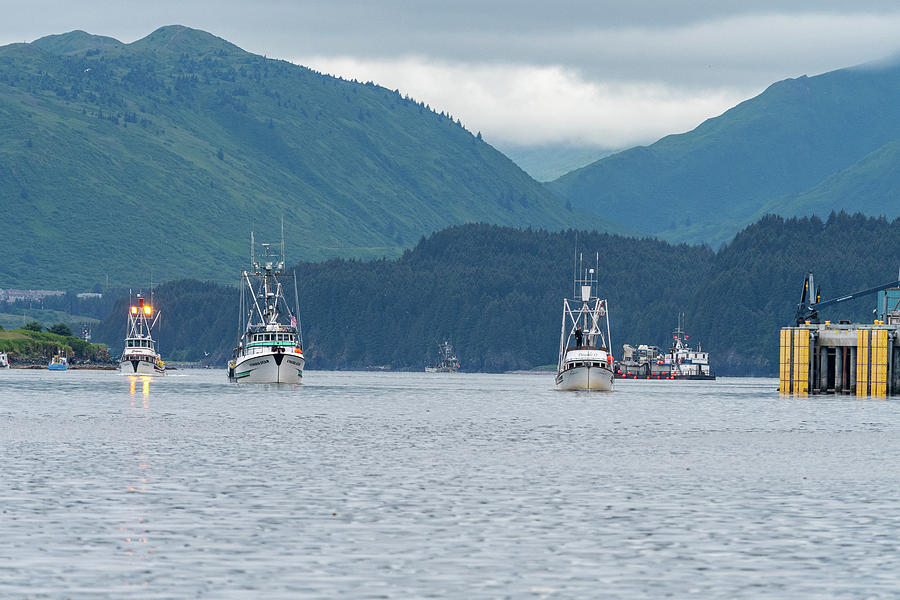 Fishing Boats Leaving Kodiak by Mark Hunter