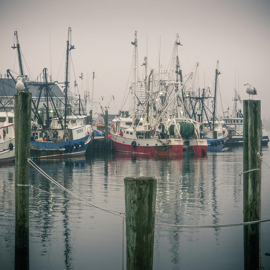 Square Photograph - Fishing Boats by Steve Stanger