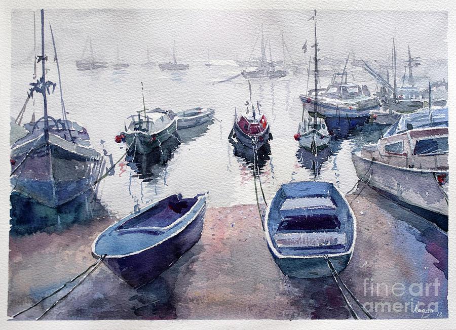 Boats Painting - Fishing harbor by Igal Kogan