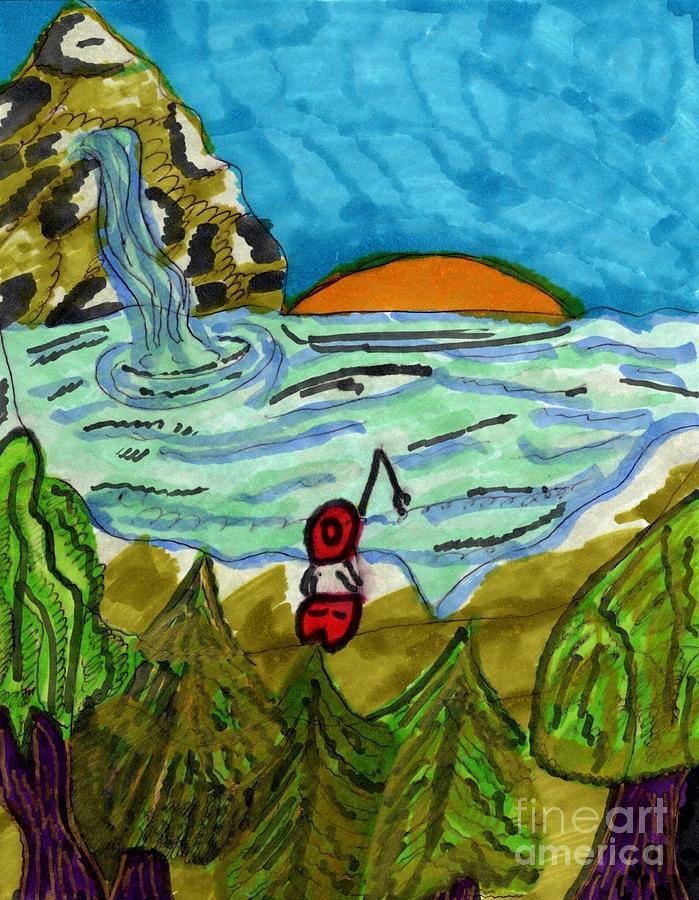 Fishing in a Mountain Lake by Elinor Helen Rakowski