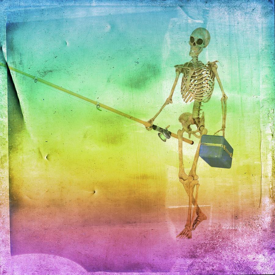 Skeleton Digital Art - Fishing Man by Betsy Knapp