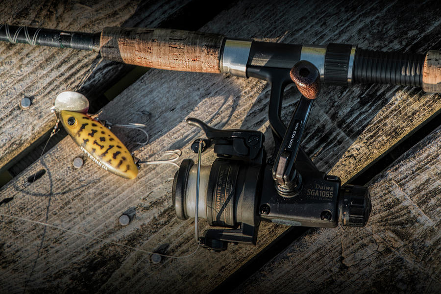 Fishing Rod with Spinning Reel and Jitterbug Crank Bait on a Boa by Randall Nyhof