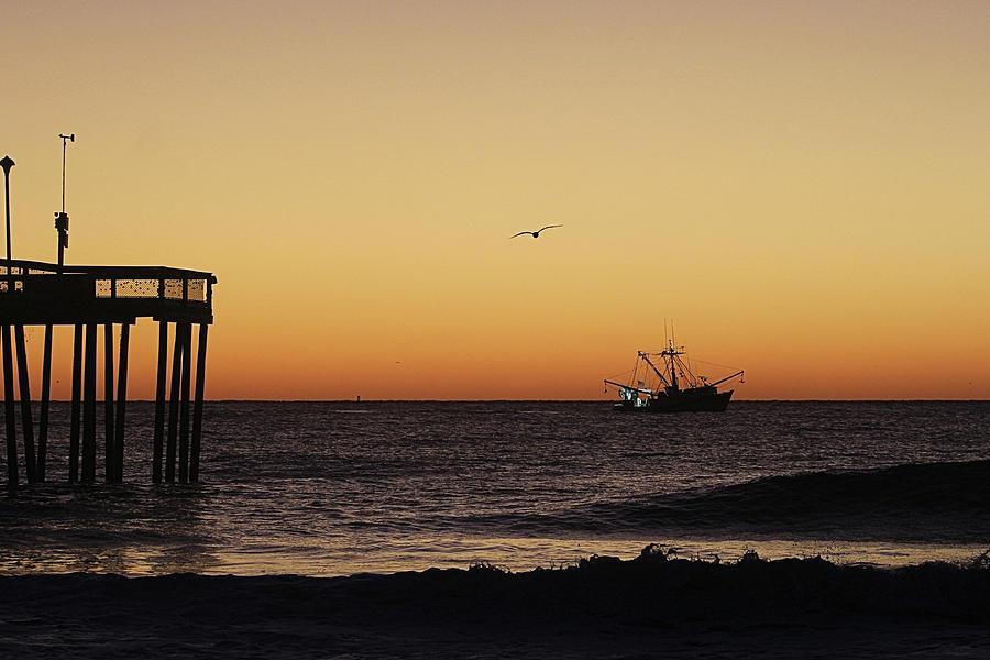 Fishing Trawler At Dawn by Robert Banach