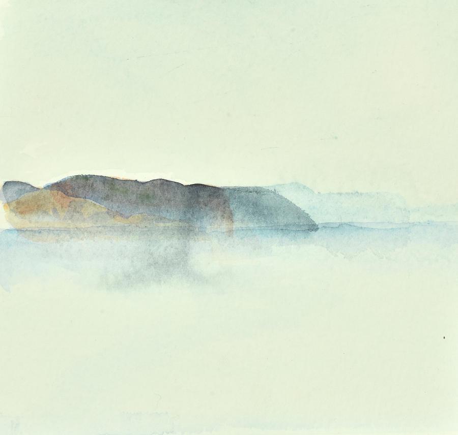 Landscape Painting - Fishing in morning haze 2    Fiske i morgondis 2_76x73 cm by Marica Ohlsson