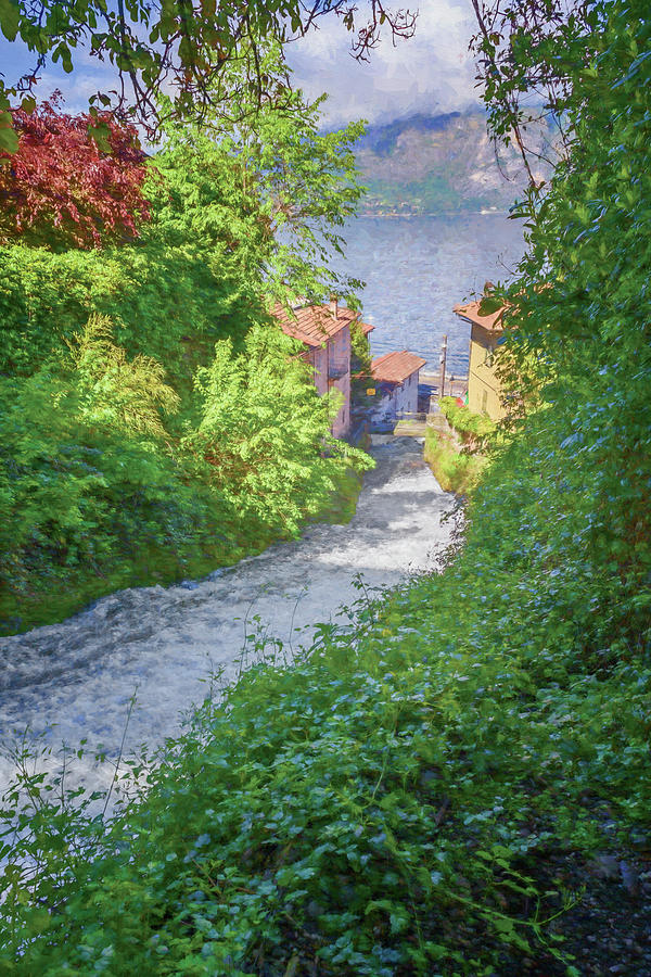 Fiumelatte Lake Como Italy Painterly by Joan Carroll