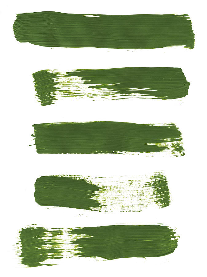Five Bright Green Paint Strokes Photograph by Kevinruss