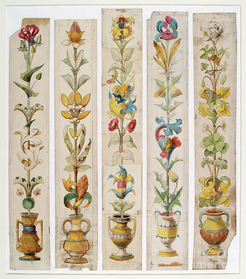 Five Designs For An Inlay, Cardiff Drawing by Heritage Images