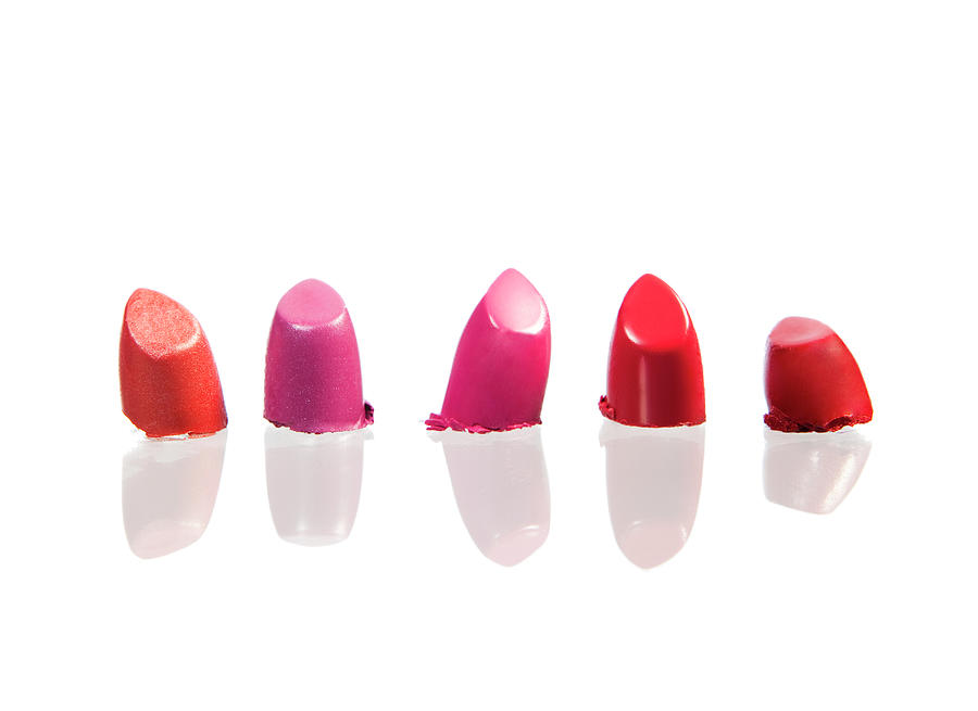 Five Different Coloured Lipsticks Photograph by Nicole Hill Gerulat