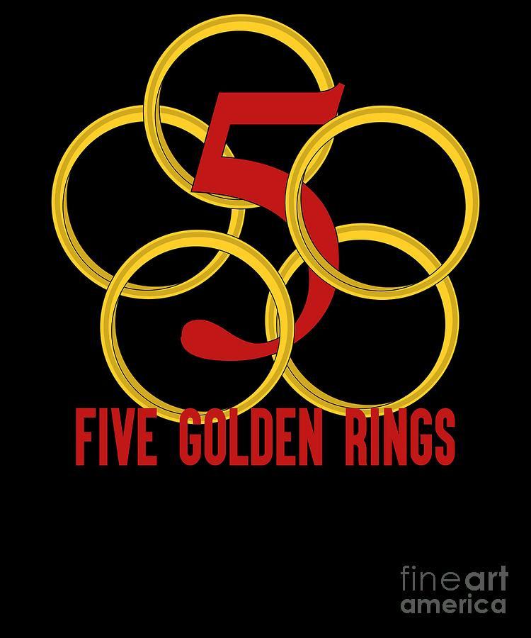 d1247959 Five Golden Rings Song 12 Days Christmas Numbers Red by Henry B