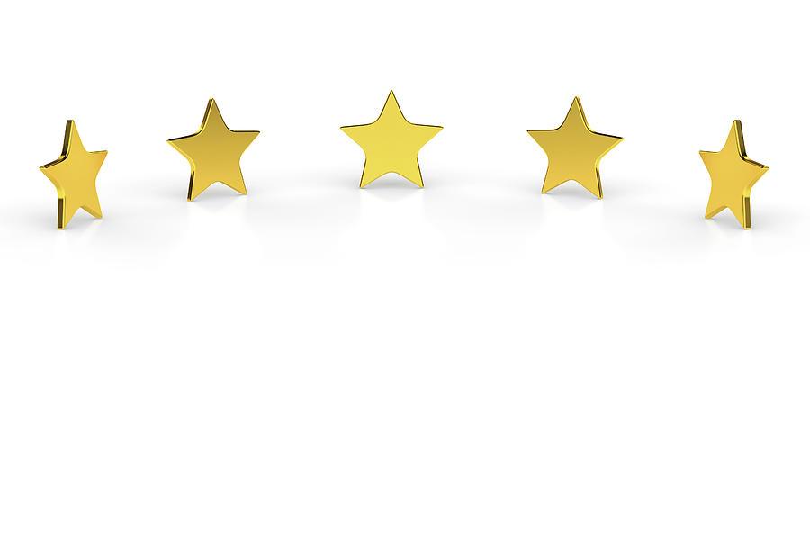 Five Golden Stars On White Background Digital Art by Bjorn Holland
