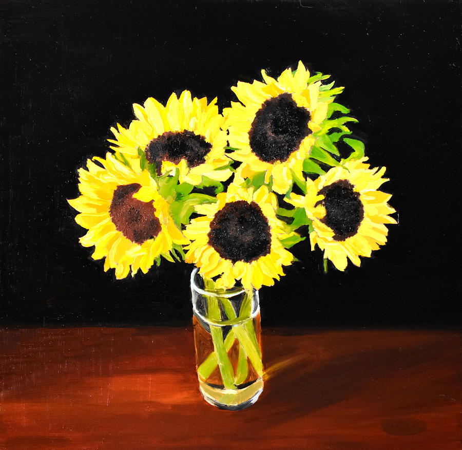 Sunflowers Painting - Five Sunflowers by Emily Warren