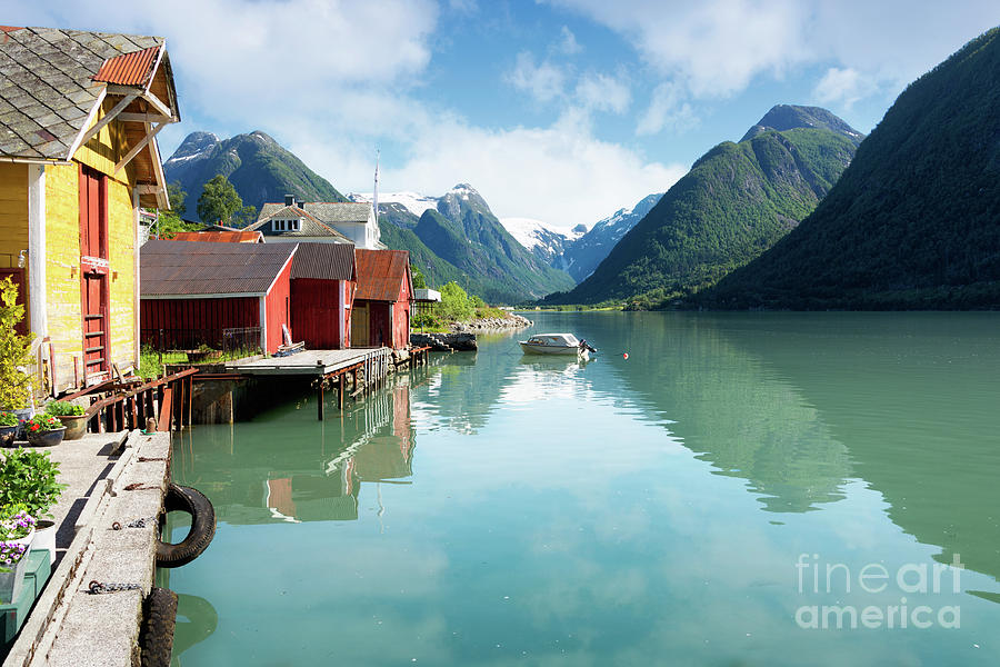 Fjord Photograph - Fjord with colorful houses and mountains in Norway by IPics Photography