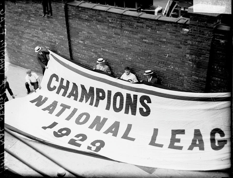 Flag Commemorating The Chicago Cubs Photograph by Chicago History Museum