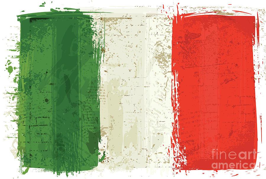 Flag Of Italy On Wall Digital Art by Shanina