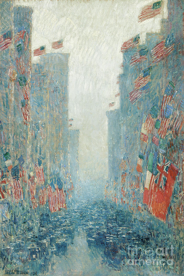 Hassam Painting - Flags, Afternoon On The Avenue, 1917  by Childe Hassam