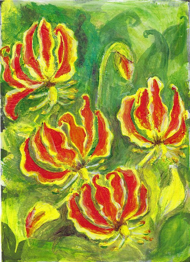 Flame Lily Painting - Flame Lilies by Deryn Van der Tang