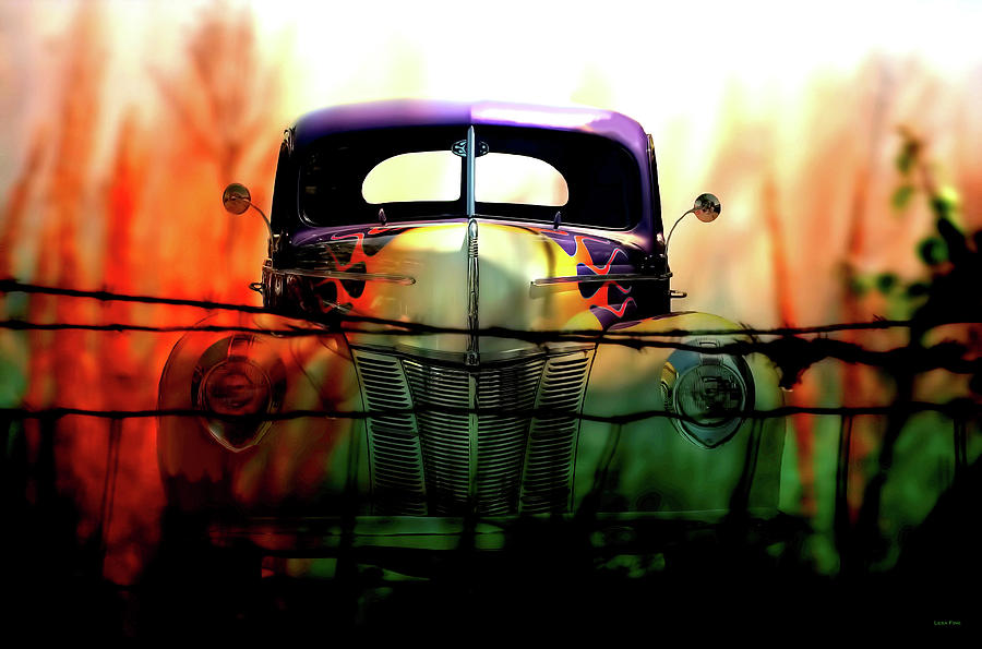 Flamed and Barbed Vintage Car by Lesa Fine