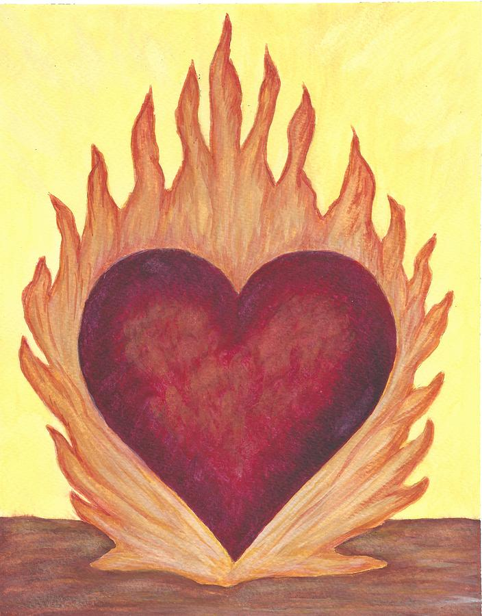 Heart Painting - Flaming Heart by Linda Humes