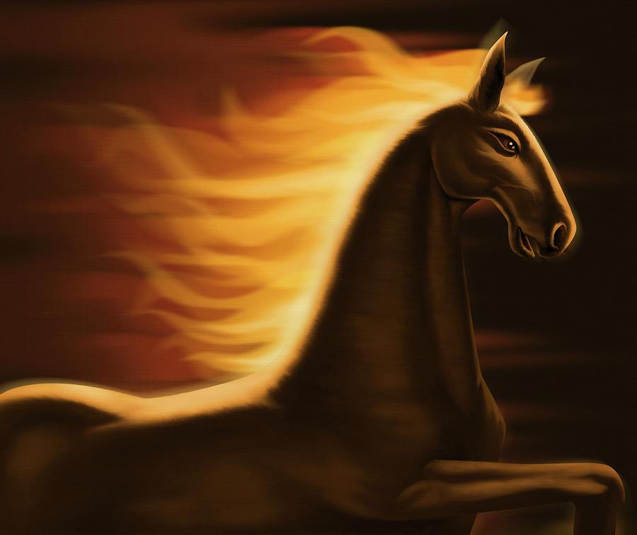 Flaming Horse Digital Art by Id-work