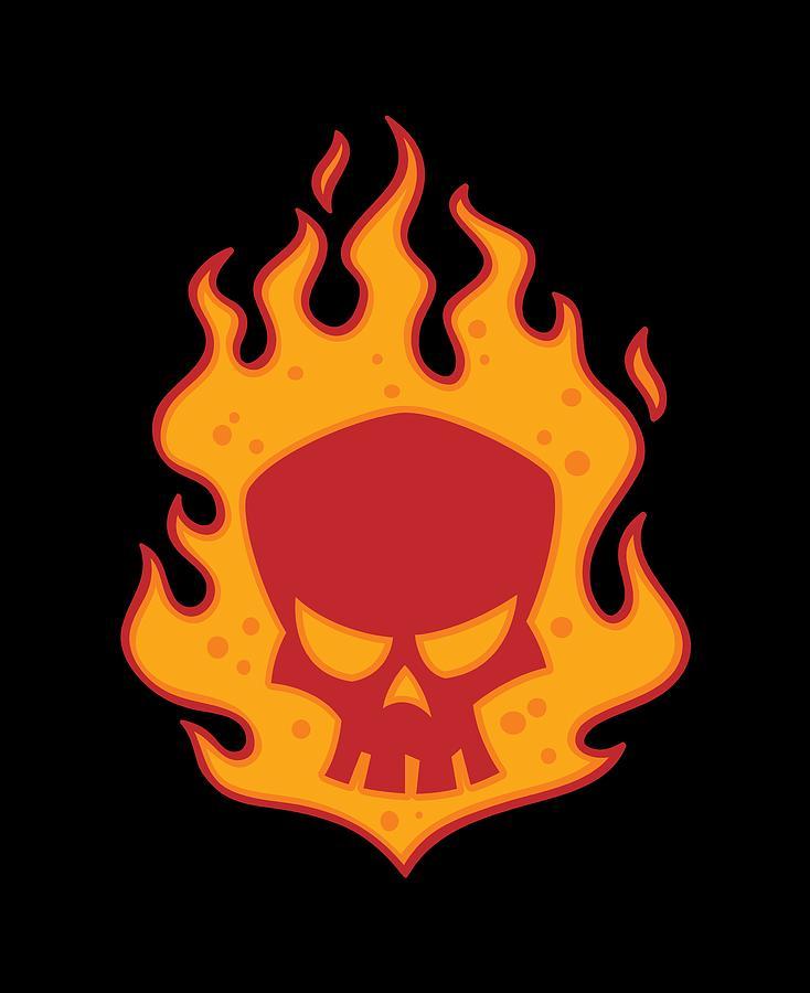 Flaming Skull Digital Art