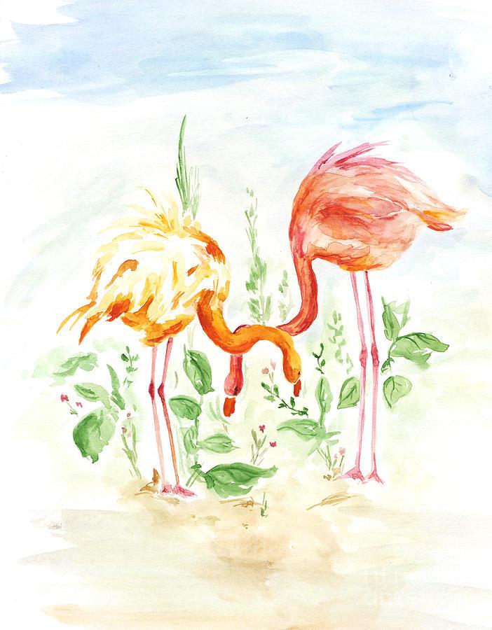 Love Digital Art - Flamingo Couple - Watercolor by Venimo