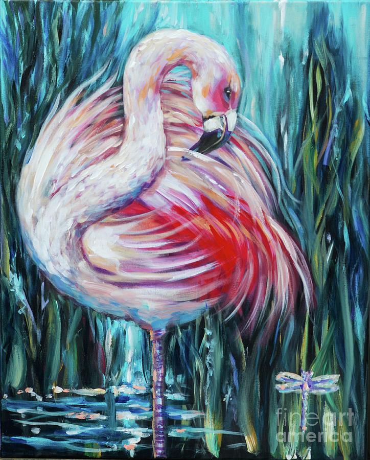 Flamingo Preening by Linda Olsen