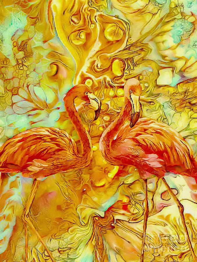 Flamingos Abstract by Olga Hamilton