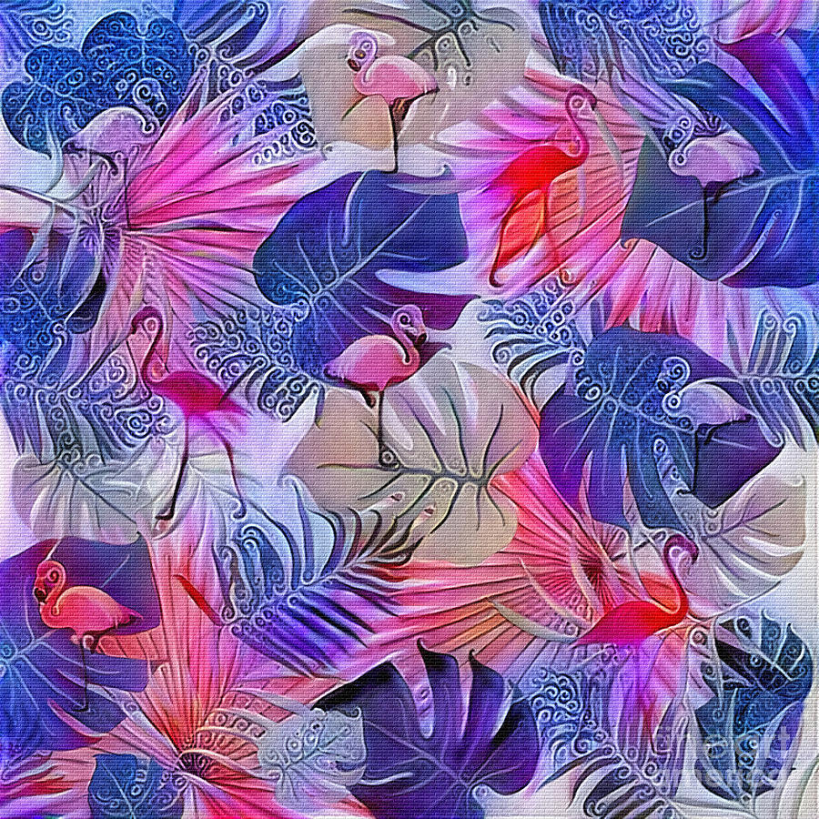 Flamingos and Tropical Leaves Art by Kaye Menner by Kaye Menner