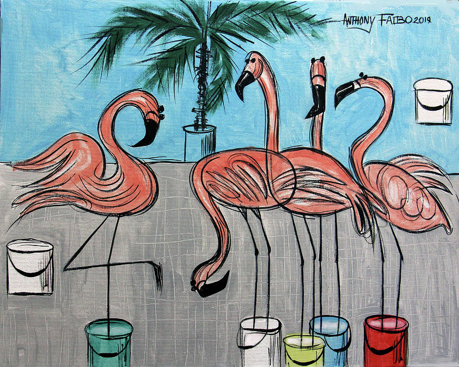 Whimsical Painting - Flamingos In A Bucket by Anthony Falbo