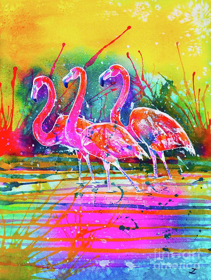 Flamingos by Zaira Dzhaubaeva