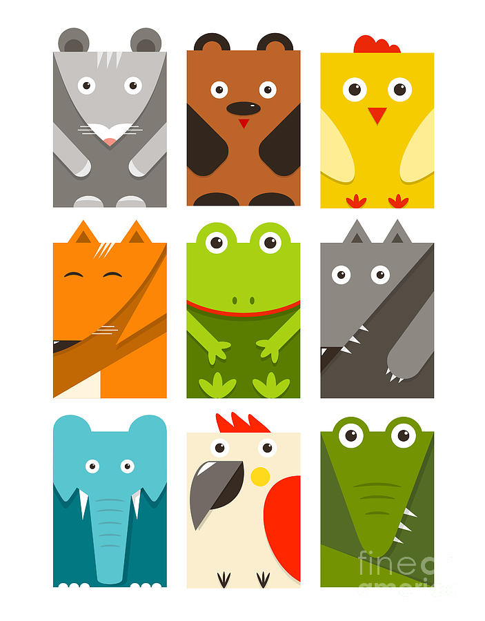 Crocodile Digital Art - Flat Childish Rectangular Animals Set by Popmarleo