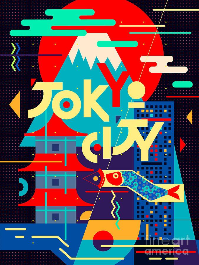 Symbol Digital Art - Flat Poster. Tokyo City by Daria i