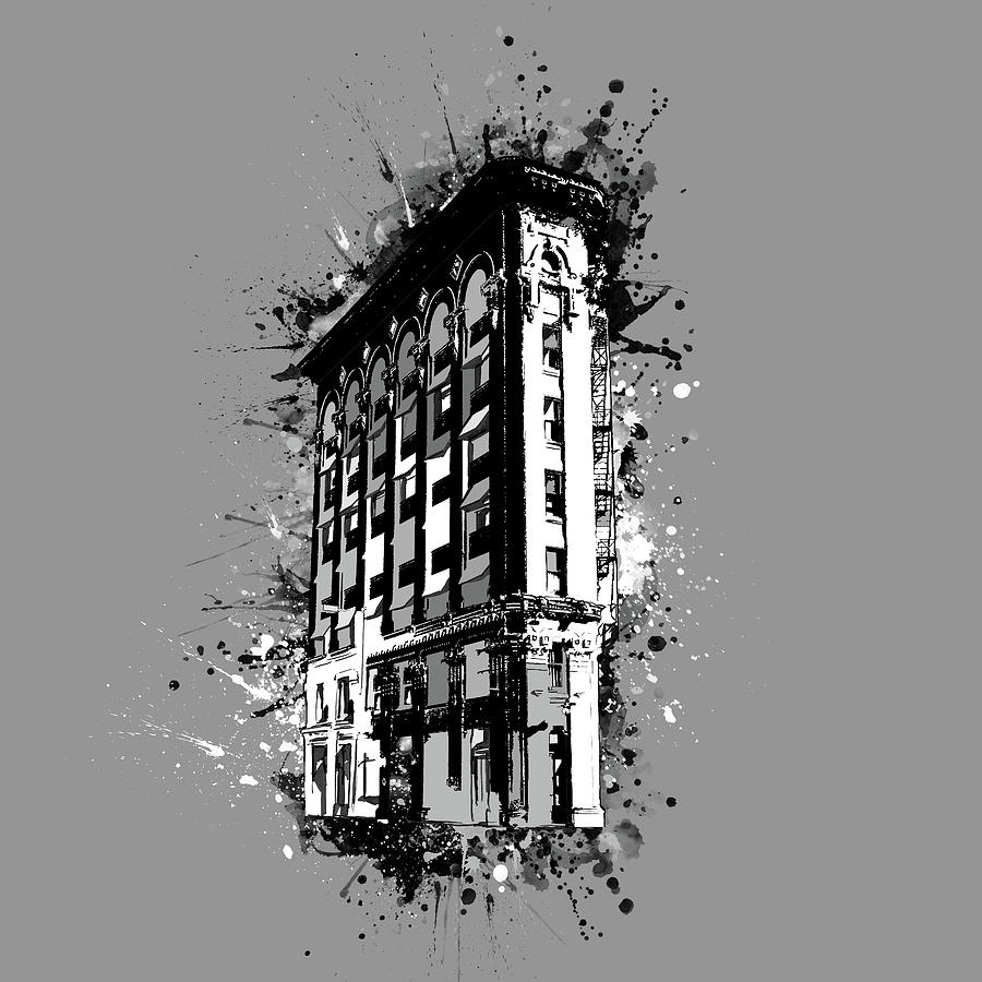 Architecture Digital Art - Flatiron Building Fort Worth Black And White by Bekim M