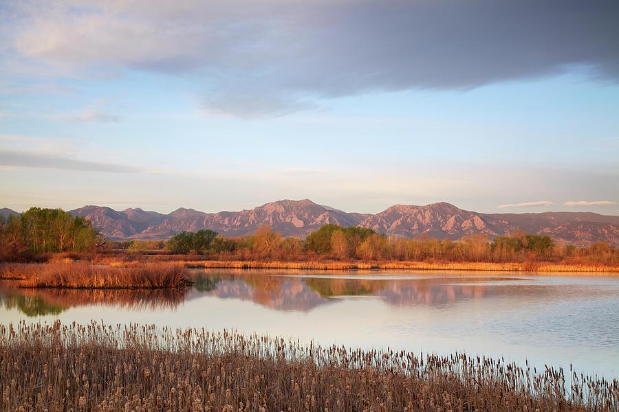 Flatirons At Dawn Reflecting In Lake Photograph by Beklaus