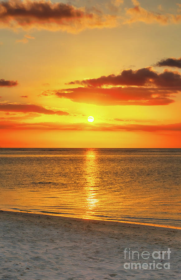 Beach Photograph - Flic en flac beach at sunset.  by MotHaiBaPhoto Prints