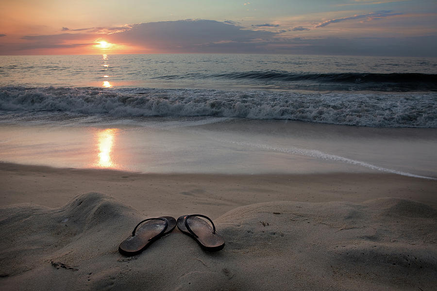 Flip-flops On The Beach Photograph by Sdominick