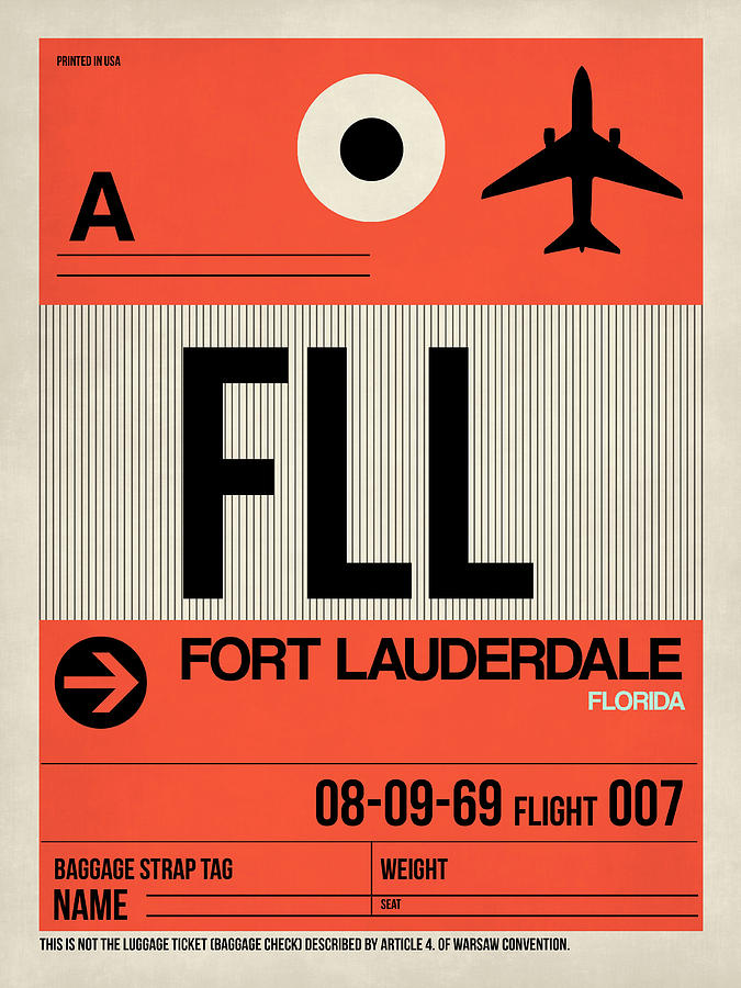 Florida Digital Art - Fll Fort Lauderdale Luggage Tag I by Naxart Studio