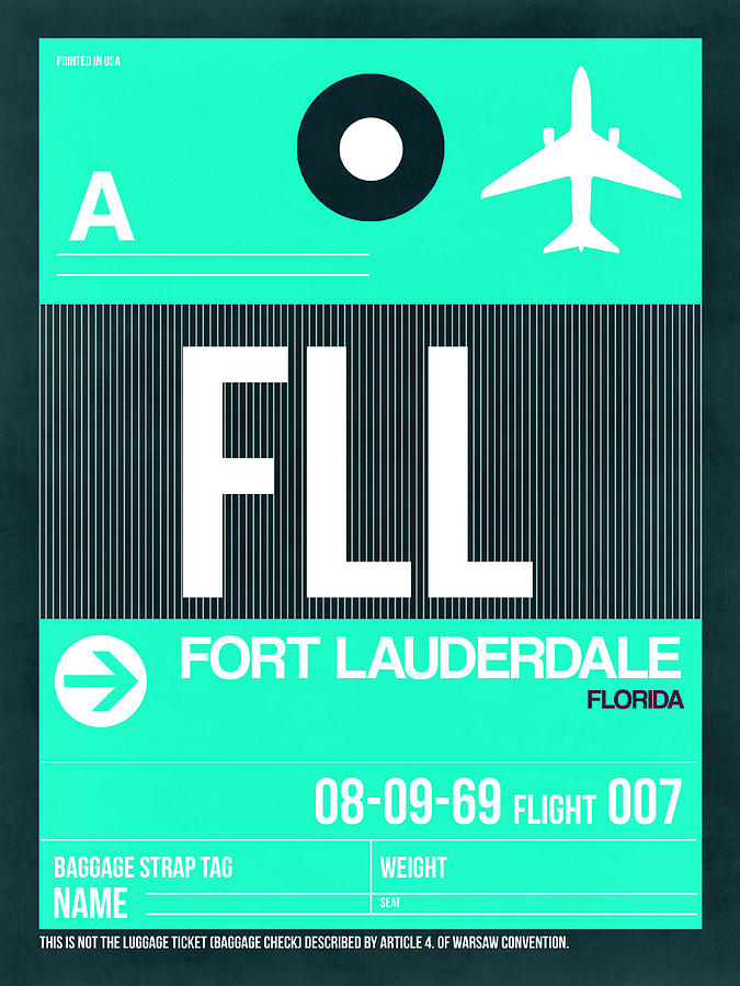 Florida Digital Art - Fll Fort Lauderdale Luggage Tag II by Naxart Studio