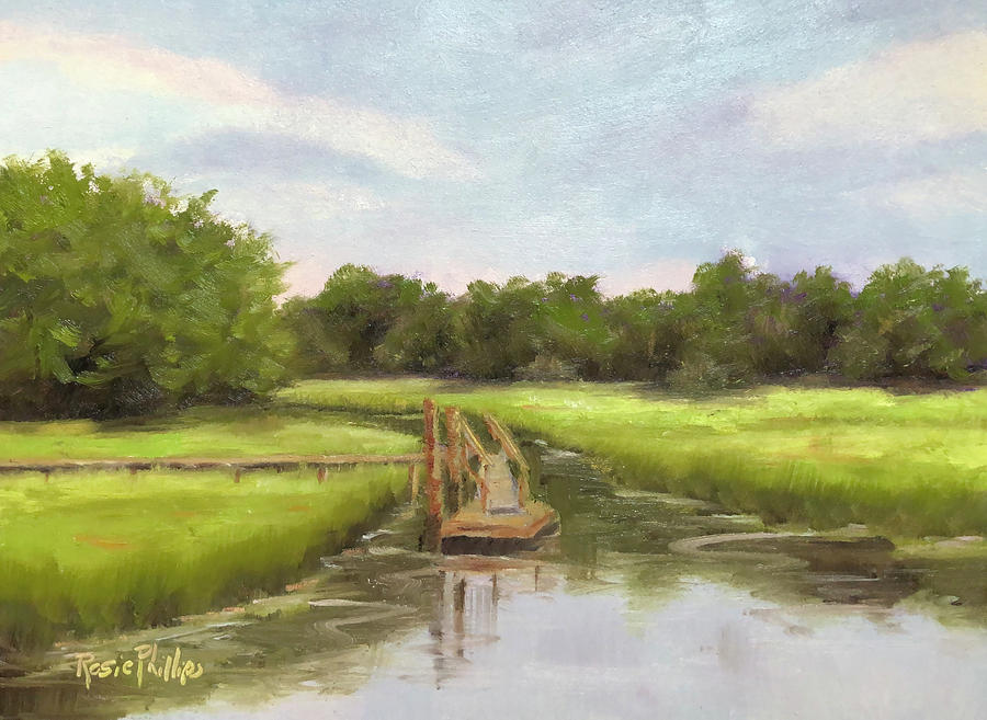 Floating Dock Painting by Rosie Phillips