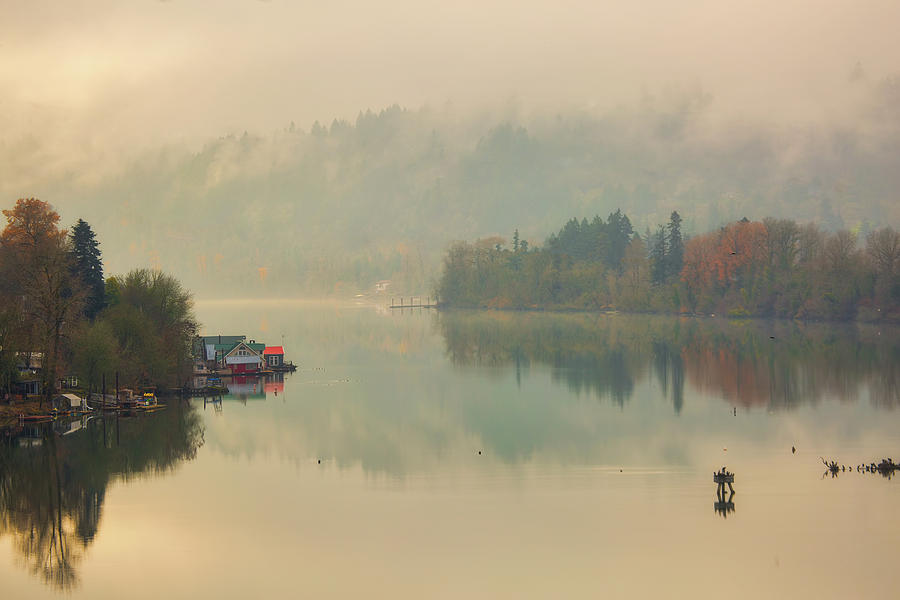 Floating Photograph - Floating Homes on the Willamette River by David Gn