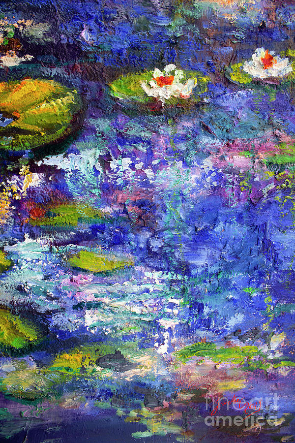 Floating Lilies Oil Painting by Ginette Callaway
