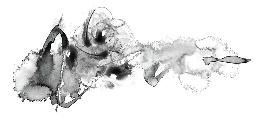 Little Fish Big Mess - Black And White Abstract by Modern Art Prints