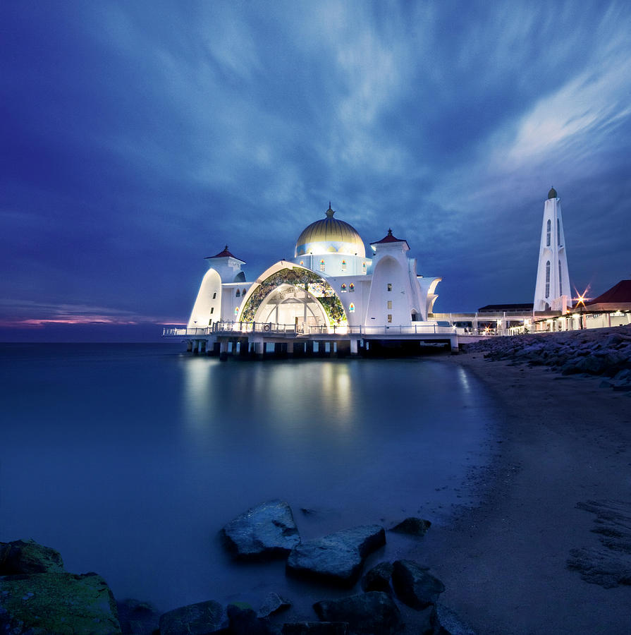 Floating Mosque At Sunset Photograph by Tomatoskin
