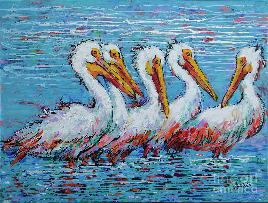 Flock Of White Pelicans by Jyotika Shroff