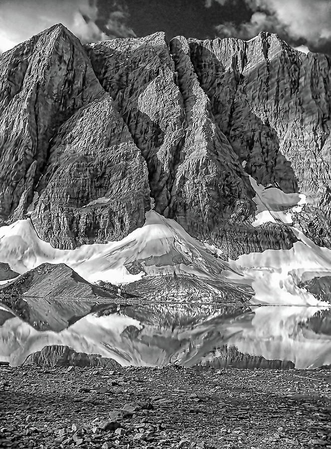 Floe Lake And The Rock Wall Bw Photograph
