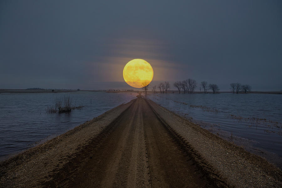 Full Moon Photograph - Flooded Road to Nowhere  by Aaron J Groen